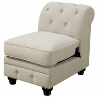 Stanford II Traditional Tufted Modular Armless Chair in Ivory Fabric Upholstery