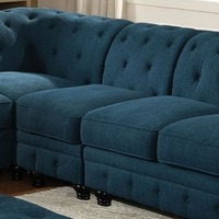 Stanford II Traditional Tufted Modular Armless Chair in Teal Fabric Upholstery