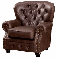 Stanford Traditional Button Tufted Chesterfiel Chair in Brown Leatherette Fabric