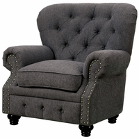 Stanford Traditional Button Tufted Chesterfiel Chair in Gray Fabric Upholstery