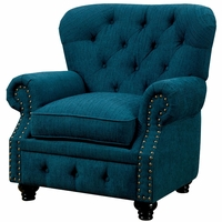 Stanford Traditional Button Tufted Chesterfiel Chair in Teal Fabric Upholstery