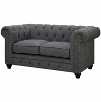 Stanford Traditional Button Tufted Chesterfield Loveseat, Gray Fabric Upholstery
