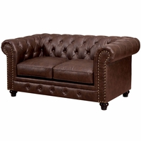 Stanford Traditional Button Tufted Chesterfield Loveseat in Brown Leatherette