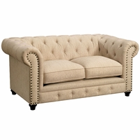 Stanford Traditional Button Tufted Chesterfield Loveseat Ivory Fabric Upholstery