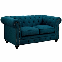 Stanford Traditional Button Tufted Chesterfield Loveseat, Teal Fabric Upholstery
