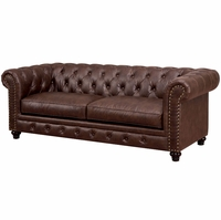 Stanford Traditional Button Tufted Chesterfield Sofa in Brown Leatherette Fabric