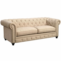 Stanford Traditional Button Tufted Chesterfield Sofa in Ivory Fabric Upholstery