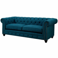 Stanford Traditional Button Tufted Chesterfield Sofa in Teal Fabric Upholstery