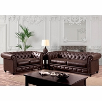 Stanford Traditional Button Tufted Sofa & Loveseat Set, Brown Leatherette Fabric