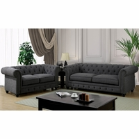 Stanford Traditional Button Tufted Sofa & Loveseat Set in Gray Fabric Upholstery