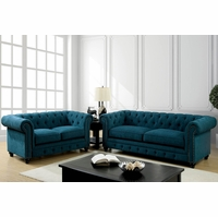 Stanford Traditional Button Tufted Sofa & Loveseat Set in Teal Fabric Upholstery