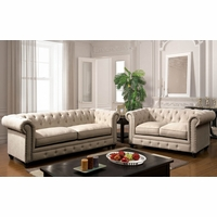 Stanford Traditional Button Tufted Sofa & Loveseat Set, Ivory Fabric Upholstery