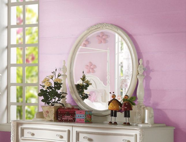 Susana Kids Traditional Girl's Youth Framed Oval Mirror in Ivory Finish