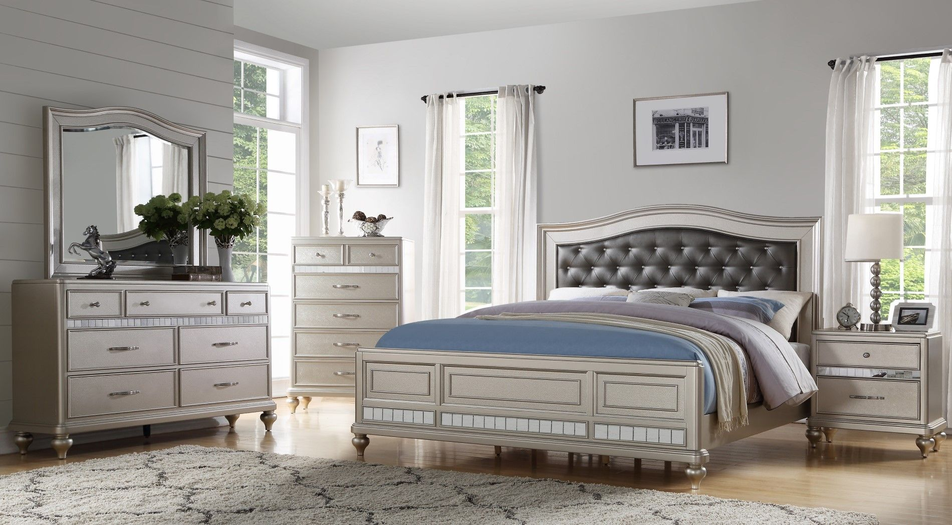 sweetwater 4pc grey bonded leather california king bedroom
