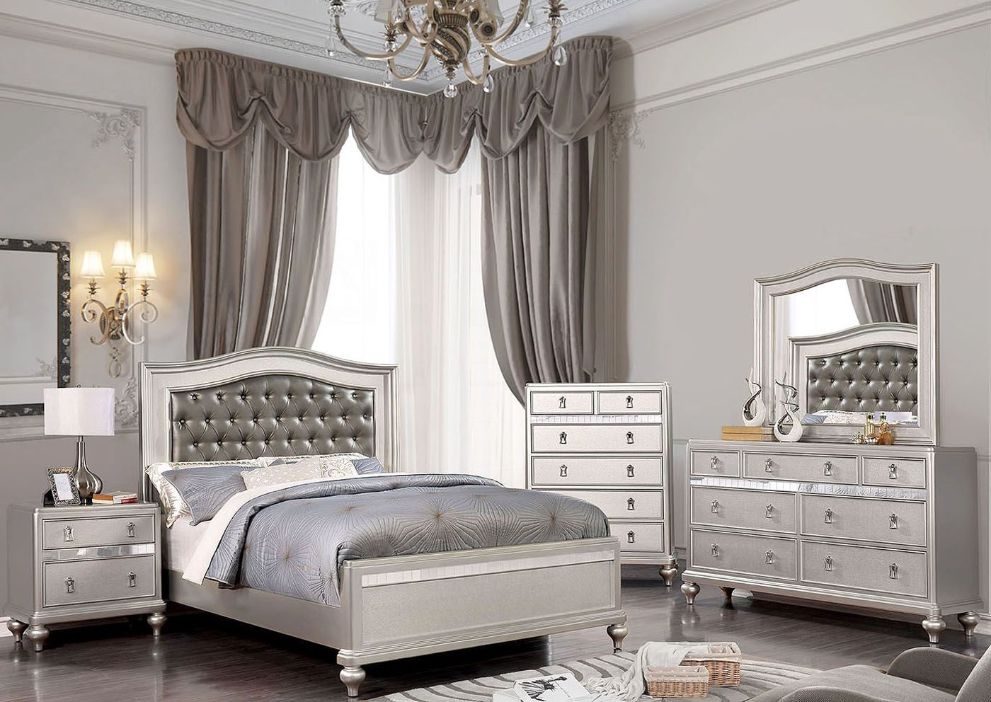 sweetwater 4pc modern tufted mirrored queen bedroom set
