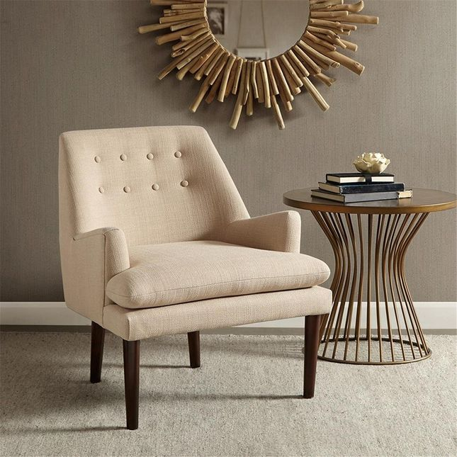 Taylor Mid-Century Modern Accent Chair Hard Wood Sand Brown Neutral Madison Park