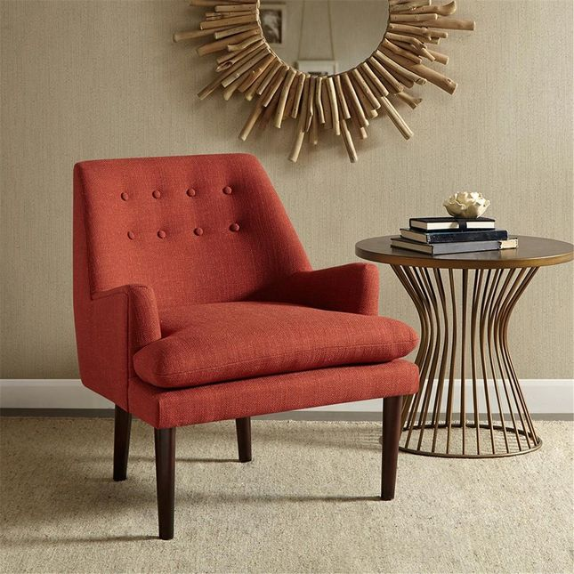 Taylor Mid-Century Modern Accent Chair Hard Wood Spice Neutral Grey Madison Park