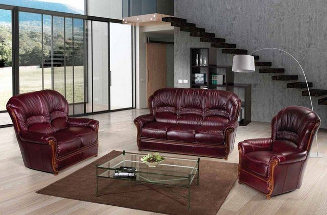 Teramo Antic Red Genuine Italian Leather Sofa Set with Exposed Wood Frame