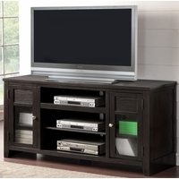 Thaddeus Modern Rustic 2-Door TV Stand with Open Shelving in Espresso Finish