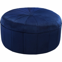 Thane Contemporary Round Ottoman Bench in Navy Blue Channel Tufted Velvet