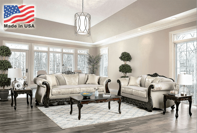 Newdale Traditional Beige Living Room Furniture Set Carved Wood Accents