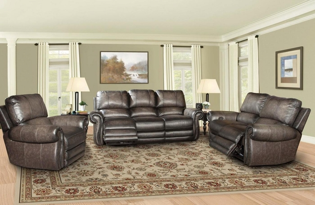 Thurston Power Reclining Leather Loveseat in Shadow w/ USB Outlet