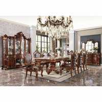 """Traditional 5pc Double Pedestal 84""""-120"""" Dining Table Set Cherry Oak Finish"""