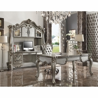 Traditional Antique Platinum Executive Writing Desk Office Furniture Collection