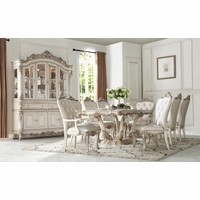 Traditional Antique White Formal Dining Room Furniture Set Carved Wood Accents