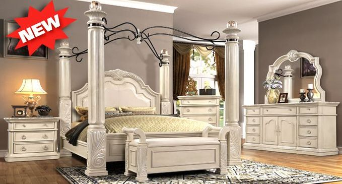 Traditional Antique White Poster Canopy Bedroom Collection