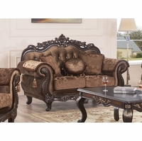 Traditional Button-Tufted Brown Floral Fabric Loveseat w/ Carved Wood Frame