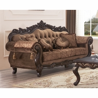 Traditional Button-Tufted Brown Floral Fabric Sofa w/ Carved Wood Frame