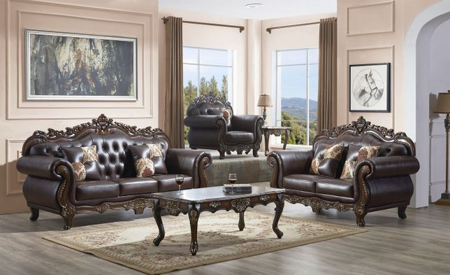 Traditional Dark Brown On Tufted, Traditional Sofas Living Room Furniture