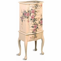 Traditional Floral Hand Painted Jewelry Armoire in Off White Finish