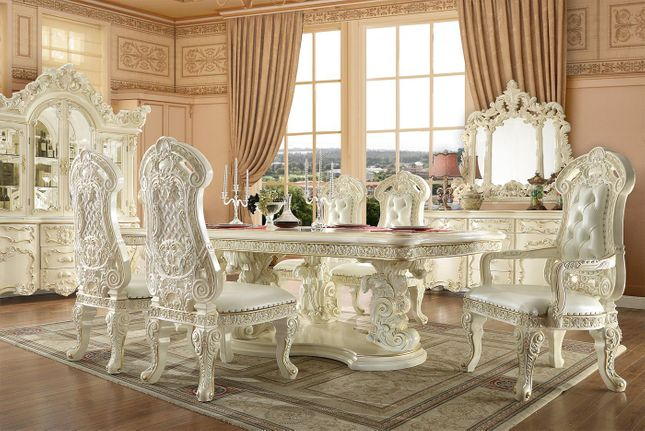 Traditional Ivory White Luxury Formal Dining Room Table