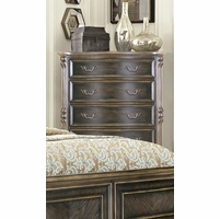 Traditional Gothic Style 5 drawer Chest Ebony Finish With Carved Details