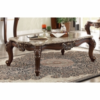 Traditional Marble Top Coffee Table Cabriole Legs Dark Cherry Gold Accents
