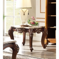 Traditional Marble Top End Table w/ Cabriole Legs Dark Cherry Gold Carved Accents