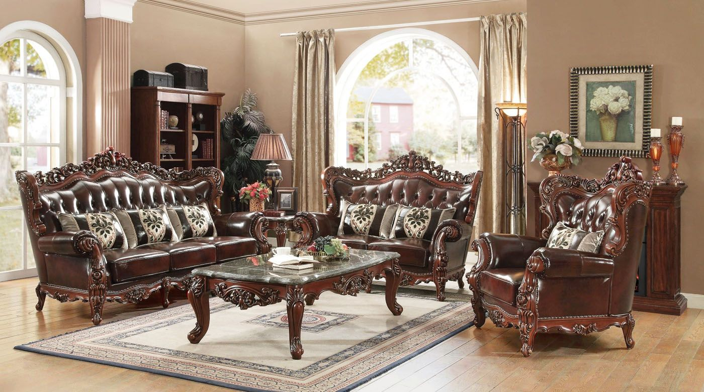 appealing traditional leather living room set | Genuine Leather Traditional Formal Sofa Set Cherry Wood ...