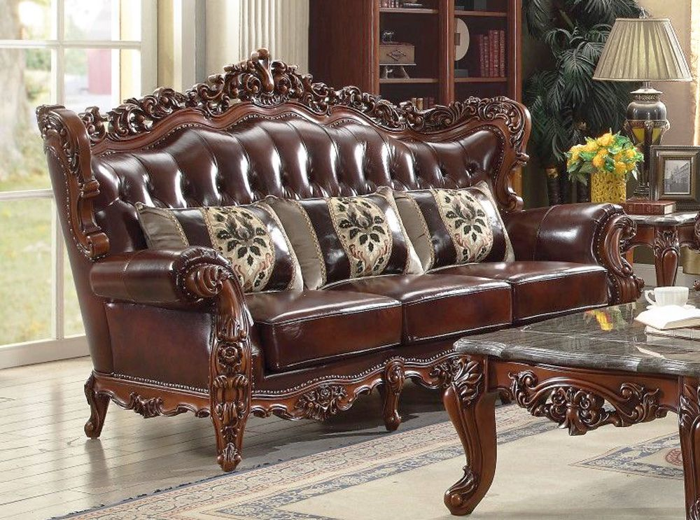 Genuine Leather Traditional Formal Sofa Set Cherry Wood