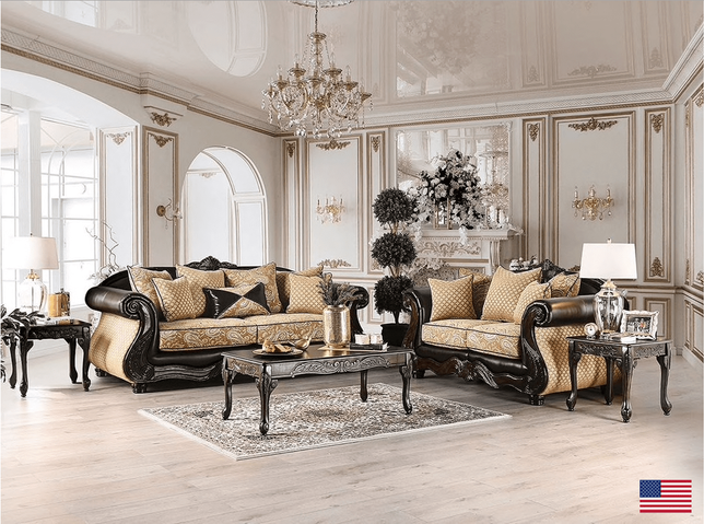 Traditional Formal Sofa Set Chenille Fabric Contrasting Leatherette & Carved Wood USA