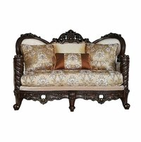 Traditional Opulent Luxury Wood Trim Victorian Loveseat Sweetheart Back