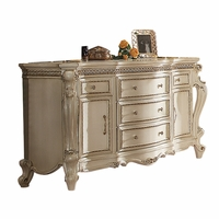 Traditional Ornate Carved 5-Drawer Dresser in Antique Pearl Finish
