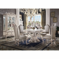 """Traditional Style 60"""" Round Antique White Formal Dining Table & Chairs Set"""
