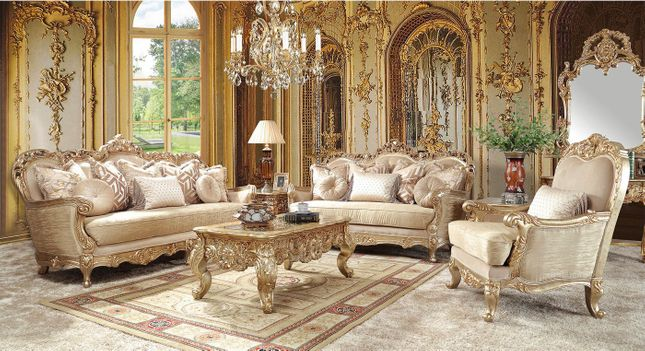 Traditional Upholstery French European Design Formal Living Room Furniture Set