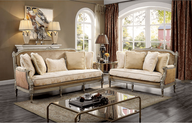 Traditional Victorian Formal Living Room Sofa Loveseat Set Exposed Wood Accent Pillow Back