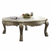 Traditional Wood Top Ornate Oval Shaped Coffee Table In Antique Gold Patina