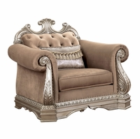Luxurious Button Tufted Velvet Fabric Armchair Carved Antique Silver Platinum