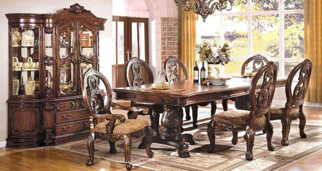 Tuscany Traditional Antique Cherry Formal Dining Room Furniture Set