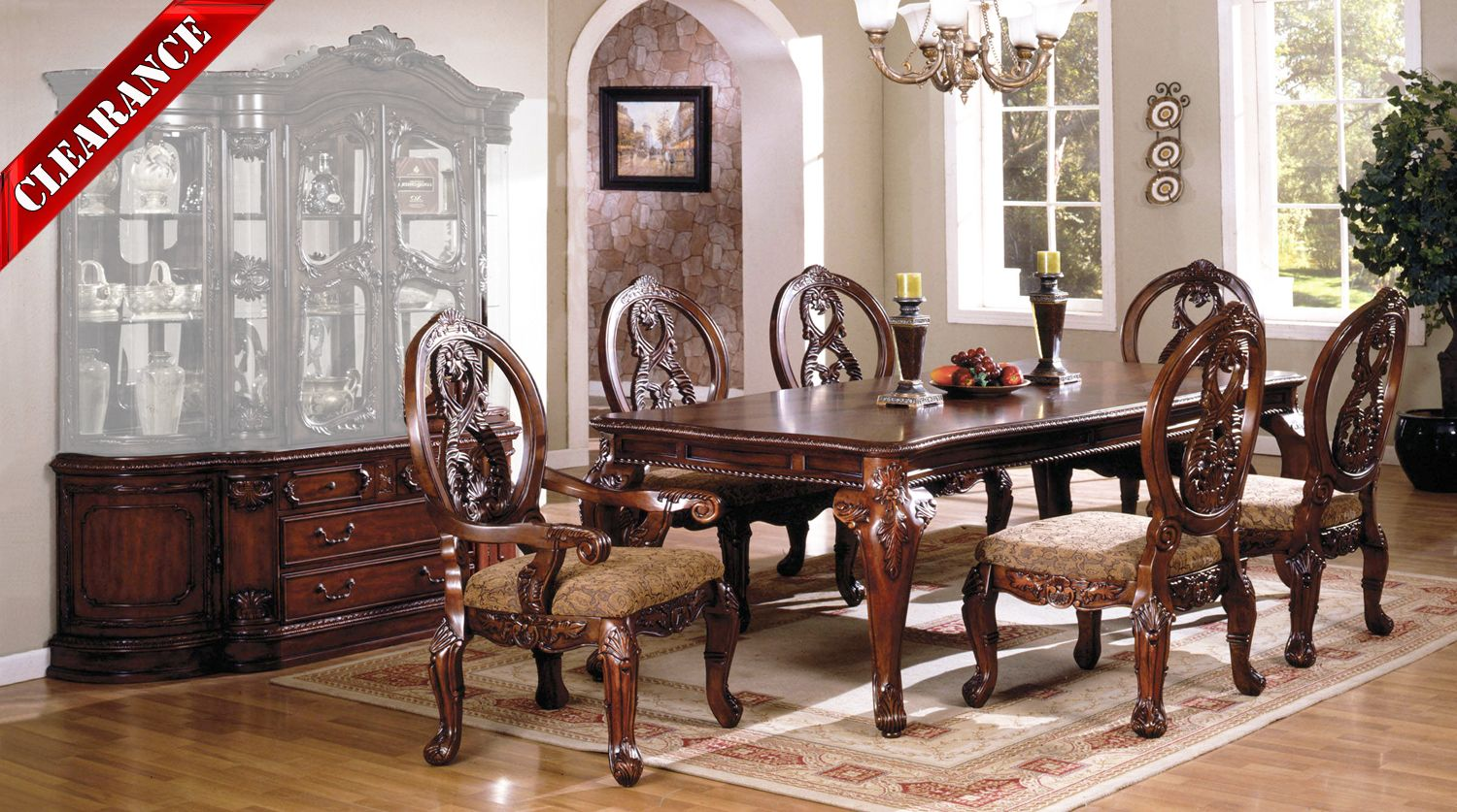 Details about Tuscany II Elegant Antique Cherry 8 pc Formal Dining Room Set  w/ Buffet